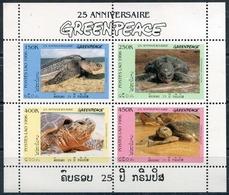 Laos 1996  BF 136A ; 1547-50 **  MNH  Greenpeace: Sea Turtles - Laos