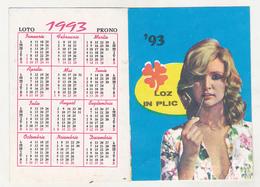 Romanian Small Calendar - 1993 National Lottery - Lottery Calendar- Loz In Plic - Calendarios