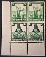 1935 Nothilfe : Volkstrachten 5 Pf.(590) + 6 Pf. (591) S 231 X 2 In Viererblock Ecke *) - Zusammendrucke