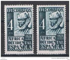 AFRICA  OCCIDENTALE  SPAGNOLA:  1949  U.P.U. -  4 P. VERDE-NERO  T.L. -  RIPETUTO  2  VOLTE  - YV/TELL. 1 - Sahara Spagnolo