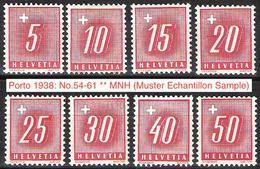 """Schweiz Suisse 1938: """"Portomarken Timbres Taxe"""" Zumstein Oder Michel-No. 54-61 ** MNH (Zu CHF 27.50) - Taxe"""