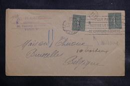 FRANCE - Enveloppe De Paris Pour Bruxelles En 1920 , Affranchissement Semeuse Dont Millésime - L 34764 - Marcophilie (Lettres)
