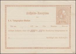 Telegrammaufgabeschein TA 5c Kaiser Franz Josef Type III 5 Kr. 1873, Ungebraucht - Postwaardestukken