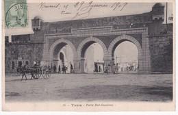 Tunisie -  TUNIS -  Porte Bab-Saadoun - Attelage - 1909 - Tunisie