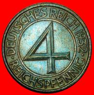 + RARE: GERMANY ★ 4 PFENNIG 1932J! LOW START ★ NO RESERVE! - 4 Reichspfennig