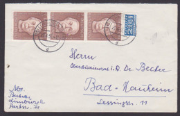 Germany Käthe Kollwitz, Grafikerin Malerin  7+3 Pfg. MeF Mit NO Limburg 29.4.55 Nach Bad Nauheim MiNr. 200 (55.-) - Cartas
