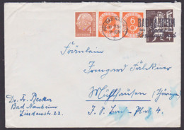 Germany 6 Pfg. Posthorn Im Waager. Paar Bad Bad Nauheim 16.6.54 MiNr. 126/126 Katalog 200,-, Portogenau In MiF - Cartas