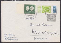 Germany 2 Pfg. Posthorn Aus Bogen Unterrand  30.4.54 MiNr. 123 Bg Portogenau In MiF Mit NO Paul Ehrlich, Emil Behring - Lettres & Documents
