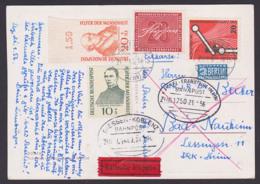 Heinrich Von Stephan, Adolf Kolping Hahnemann Eilsendung, Karte Mit Bahnpost-St. Giessen-Koblenz, Kassel-Frankfurt - [7] République Fédérale