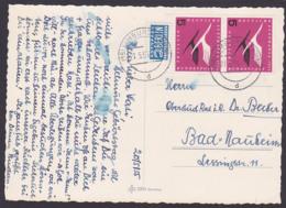 BRD Deutsche Lufthansa 1955 5 Pfg. MiNr. 205(2) Kranich Auf Karte Aus Limburg (Lahn) - [7] West-Duitsland