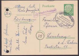 Friedrichssegen (Lahn) Poststellenst. BRD 10 Pfg. Theodor Heuss-Ganzsache Mit Banpostst. GIESSE-KOBLENZ 26.11.56 - [7] République Fédérale