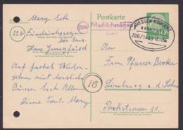 Friedrichssegen (Lahn) Poststellenst. BRD 10 Pfg. Theodor Heuss-Ganzsache Mit Banpostst. GIESSE-KOBLENZ 12.11.56, Aktenl - [7] West-Duitsland