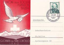 Schweiz Suisse Svizzera 1940: GIORNATA DEL FRANCOBOLLO O ST.GALLEN 1.XII.40 TAG DER BRIEFMARKE (Zu CHF 45.00) - Pro Juventute