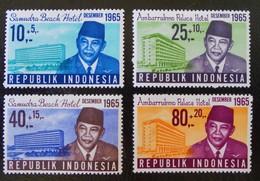 PRESIDENT SUKARNO ET HOTELS DE TOURISME 1965 - NEUFS ** - YT 436/39 - MI 495/98 - Indonésie