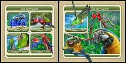 NIGER 2017 - Parrots - YT CV=39 €, 4399-4402 + BF811 - Perroquets & Tropicaux