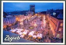 CROAZIA - Zagabria - Piazza Trg Bana Josipa Jelacica - Cartolina Non Viaggiata, Come Da Scansione. - Croazia