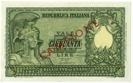 50 LIRE BIGLIETTO DI STATO CAMPIONE ITALIA ELMATA BOLAFFI 31/12/1951 QFDS - [ 2] 1946-… : République