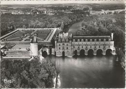 CHENONCEAUX. Vue Aérienne - Le Château Et Ses Jardins.  (scan Verso) - Chenonceaux