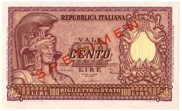 100 LIRE BIGLIETTO DI STATO SPECIMEN ELMATA DI CRISTINA 31/12/1951 FDS-/FDS - [ 2] 1946-… : République