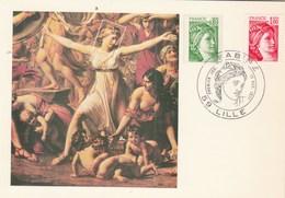 France Carte Maximum Yvert 1970 + 1972 Sabine Lille 17/12/1977 - Cartoline Maximum