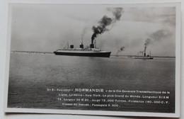 CPA Qualité Photo Paquebot Normandie Transatlantique Le Havre New York Delangue Quai Richebourg Nantes - Paquebots