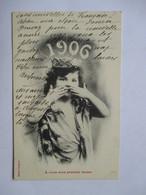 1906 -    FILLETTE      .... PREMIER BAISER   ...        TTB - Nouvel An