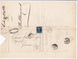 Lettre 1864 Moulins Allier Pic & Clairefond Gérardmer Vosges Timbre Napoléon III Lauré 20 Centimes - 1863-1870 Napoleon III Gelauwerd
