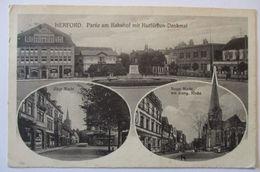 Herford Bahnhof, Markt, Bahnpost Herford Wallenbrück Zug 10, 1916 (20843) - Stamps
