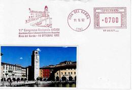 ITALIA - 1992 RIVA DEL GARDA (TN) Veduta - 11° Congr. Aicam - Affrancatura Meccanica Rossa Red Meter SPECIMEN - Vacanze & Turismo