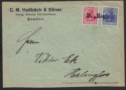 1921 - DR - Stettin Auslands Bedarfsbrief Schiffspost - Dampfschiff REGINA Nach Helsingfor, Finland - Briefe U. Dokumente