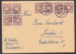 SBZ 3 Pfg. Ziffern Ostsachsen 56 (8), Portogenau Löbau Fernbrief 20.3.46 - Zone Soviétique