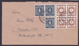 SBZ 5 Pfg. Ziffern Ostsachsen Im Viererblock Mit EA Ziffern, Ortsdoppelbrief, Portogenau Dresden 30.3.46 - Zone Soviétique