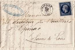 Lettre 1857 Héricourt Haute-Saône Méquillet Noblot & Cie Filature Houillères D'Épinac Saône Et Loire - 1853-1860 Napoléon III