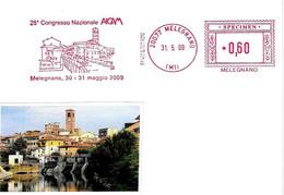 ITALIA - 2009 MELEGNANO (MI) Veduta, Chiesa, Ponte - 28° Congr. Aicam - Ema Affrancatura Mecc. Rossa Red Meter SPECIMEN - Ponti