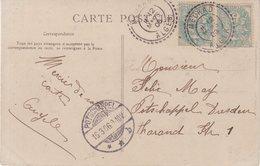 "FRANCE : ALGERIE : 5 Cts . TYPE BLANC . 2 EX . CP . OBL . "" MEURAD ALGER "" . 1906 . - Marcophilie (Lettres)"