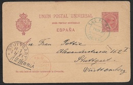 1897 Spain - Postal Stationery Card - Seapost - Canarias To Germany - Liverpool Packet - 1889-1931 Kingdom: Alphonse XIII