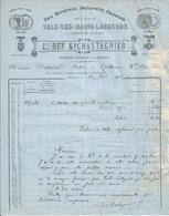 Facture - Vals Les Bains Labégude - Eau Minérale - L. Rey Et P. Chastagnier -1917 - Bon état - Frankreich