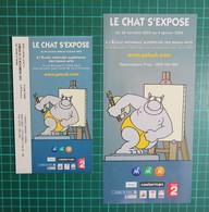 Flyer + Ticket D'entrée Exposition - Le Chat S'expose - Paris - 2004 - Geluck - Chat - Libros, Revistas, Cómics