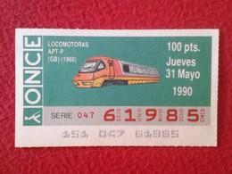 CUPÓN DE ONCE SPANISH LOTTERY LOTERIE SPAIN CIEGOS BLIND LOTERÍA LOCOMOTORA LOCOMOTIVE TREN TRAIN LOCOMOTORAS APT-P 1960 - Billetes De Lotería