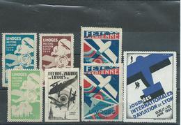 Errinophilie: Lot De Vignettes De France, Thème Aviation, Période Années 30. - Francobolli