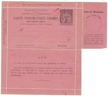 France, Entier Postal, Carte Lettre Pneumatique Avec Réponse Payée ( 1 Franc Chaplain ) - Entiers Postaux