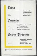 PUBBLICITA' FARMACI CIBA - FITINA CORAMINA ENTERO-VIOFORMIO -  SU CARTA ASSORBENTE NUOVA - 14,50X 22 - F