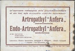 PUBBLICITA' FARMACI ANGELINI & FERRANTI - ARTROPATHYL ANFERA- ENDO-ARTROPATHYL -  SU CARTA ASSORBENTE USATA - 20,50X14 - F