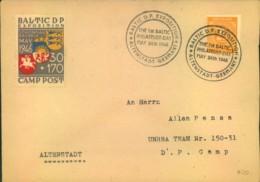 """1948, Sammler-Eilbrief Mit Vignette """"BALTIC DP CAMP2 Von Augsburg - Displaced Persons - Zone Anglo-Américaine"""