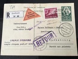 Luxembourg Carte Remboursement Retour Ettelbruck - Entiers Postaux