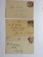 GB Victoria X 3 Postcards With Various Bradford Postmarks Including Squared Circles - Briefe U. Dokumente
