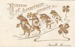 1906 - Getragen Von 4 Schweinchen Im Goldprägedruck        (A-98-70619) - New Year