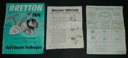 Rare Ancien Dépliant / Notice Publicitaire, Pêche, Moulinet BRETTON 804 - Publicités