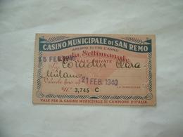 TESSERA ABBONAMENTO CASINO MUNICIPALE DI SAN REMO 1940. - Biglietti D'ingresso