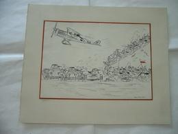 DISEGNO A CHINA WW1 WW2 AEREO AVIAZIONE GERMAN PRUSSIAN CAVALLERIA BRIOSCHI.? - Disegno Tecnico